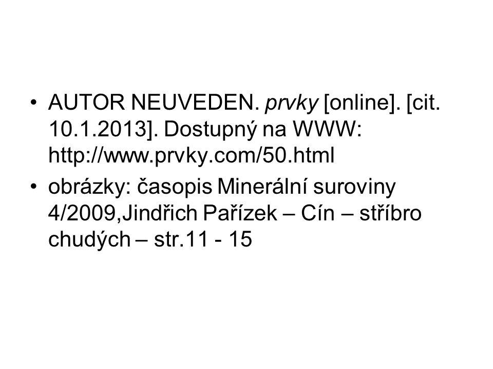 AUTOR NEUVEDEN. prvky [online]. [cit. 10. 1. 2013]